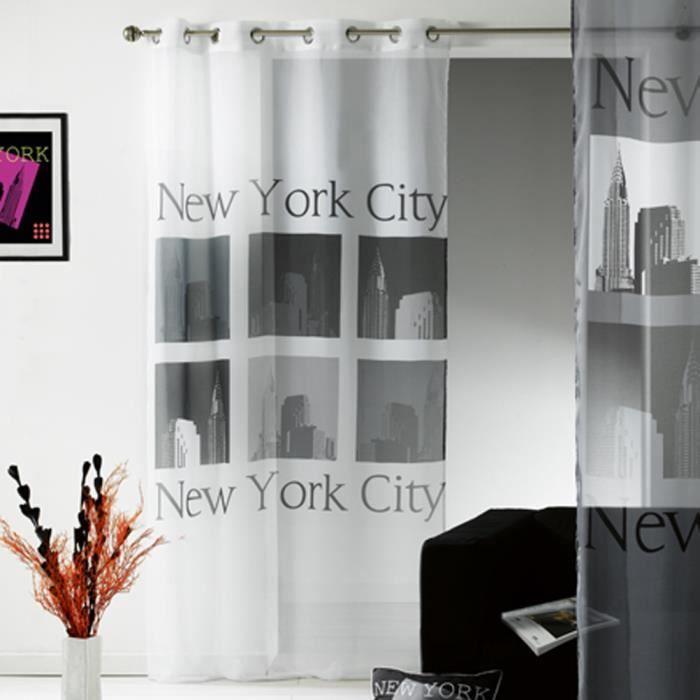 voilage oeillets new york achat vente rideau tissu 100 polyester cdiscount. Black Bedroom Furniture Sets. Home Design Ideas