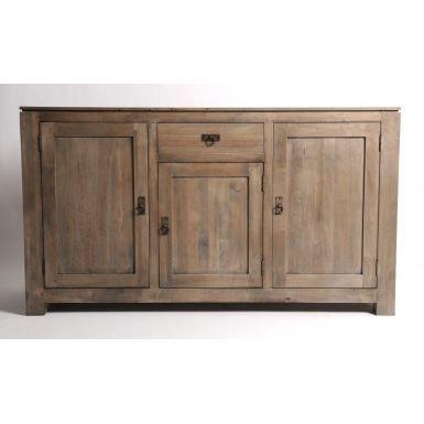 buffet bas 3 portes 1 tiroir gris achat vente buffet. Black Bedroom Furniture Sets. Home Design Ideas
