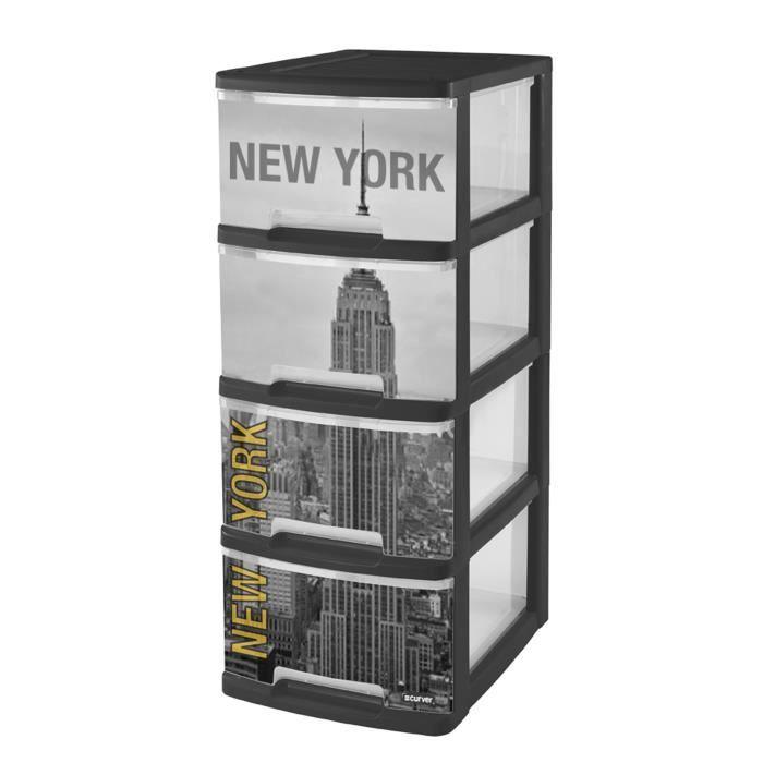 203619 tour tiroirs a4 4 x 10 l d cor new york achat - Tour de rangement plastique ikea ...