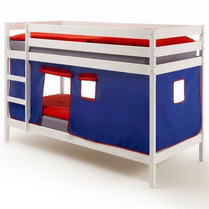 lits superpos s blanc felix rideaux bleu rouge achat. Black Bedroom Furniture Sets. Home Design Ideas
