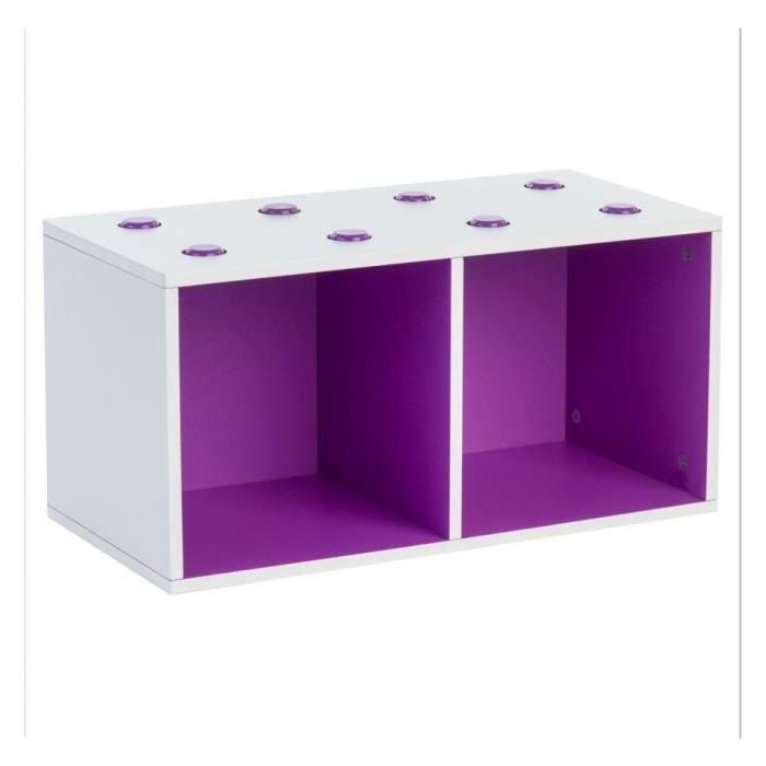 etagere 2 cases violet empilable bicolore achat vente. Black Bedroom Furniture Sets. Home Design Ideas