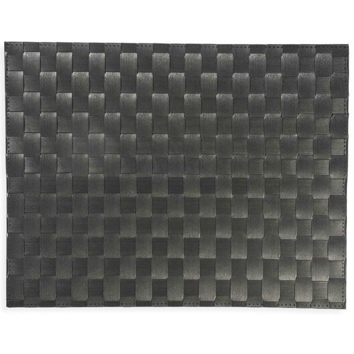 set de table saleen rectangulaire 30x40cm noir achat vente set de table cdiscount. Black Bedroom Furniture Sets. Home Design Ideas