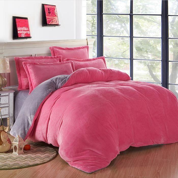 flanelle 3 ensembles de literie linge de lit de couette rose and gris simpvale achat. Black Bedroom Furniture Sets. Home Design Ideas