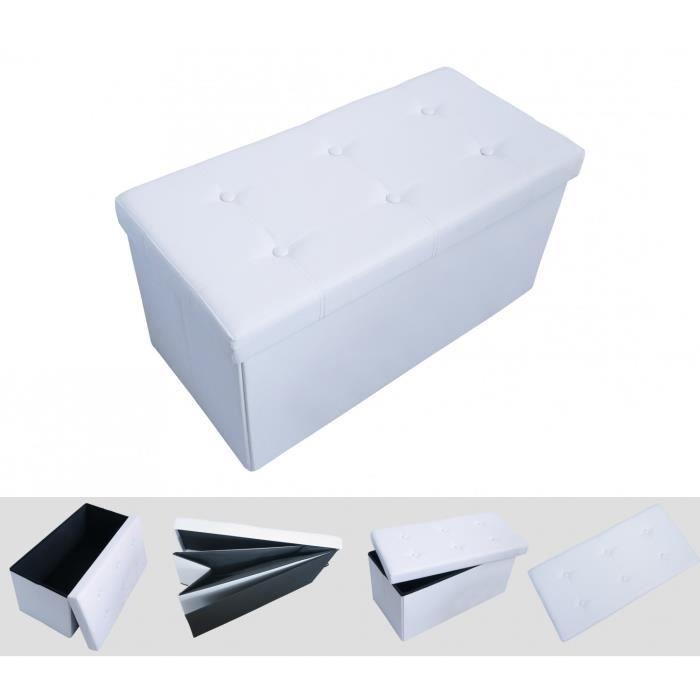 Pouf coffre de rangement pliable blanc 76x38x38cm achat vente pouf poir - Coffre rangement blanc ...