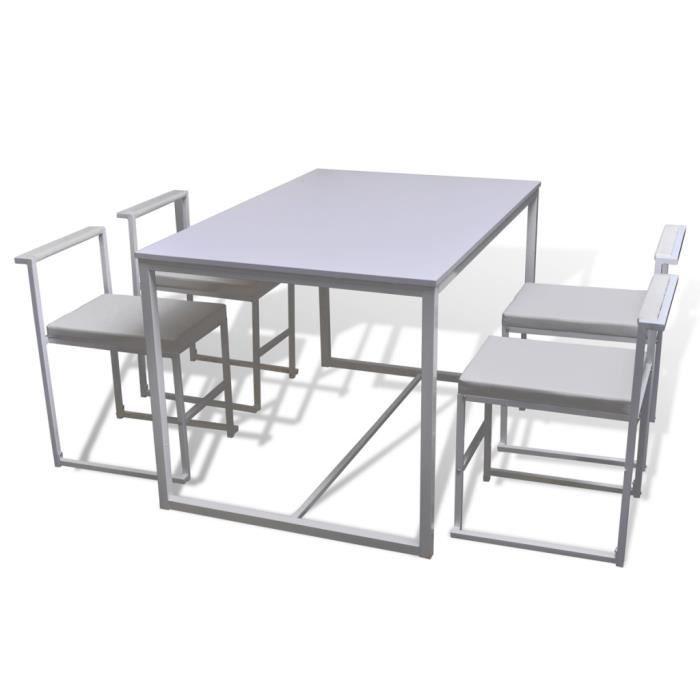 Cet ensemble de salle à manger se compose de 1 table et 4 chaises est ...