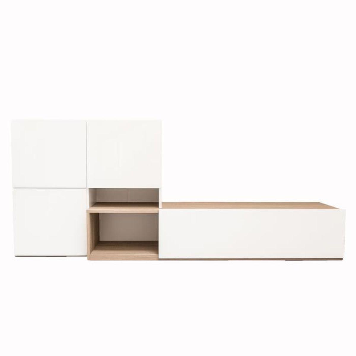 Ultra meuble tv avec tiroirs et portes achat vente for Meuble avec nombreux tiroirs