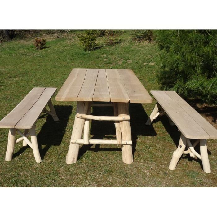 Table de jardin en ch ne pour 6 8 personnes achat for Table jardin 8 personnes