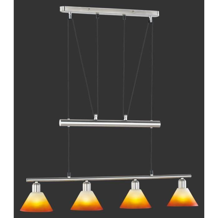suspension longue 80 cm 4 ampoules en nickel et achat vente suspension longue 80 cm 4 a. Black Bedroom Furniture Sets. Home Design Ideas