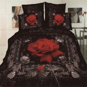 parure de lit avec des roses rouge achat vente parure. Black Bedroom Furniture Sets. Home Design Ideas