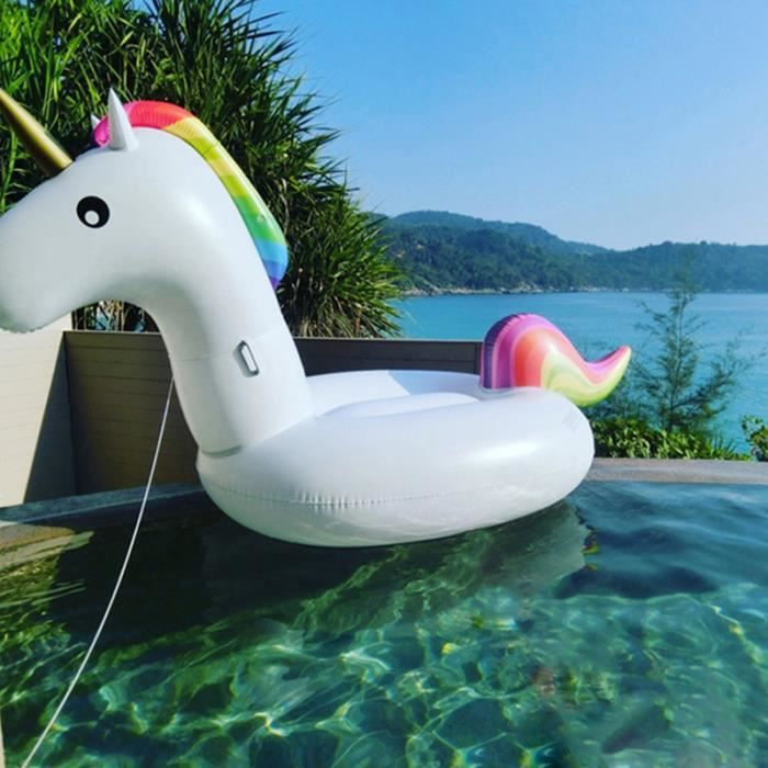 Licorne 275x140x120cm gonflable bou e piscine geant blanc for Achat piscine gonflable