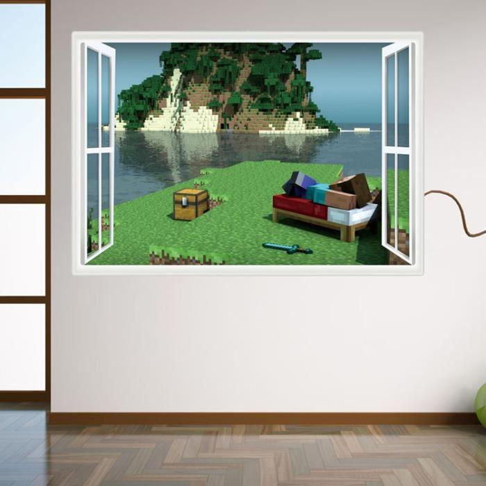 minecraft stickers muraux cartoon autocollants sticker. Black Bedroom Furniture Sets. Home Design Ideas