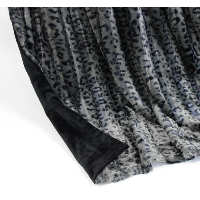 couverture plaid polaire de luxe leopard gris noir 150 cm x 200cm achat vente couverture. Black Bedroom Furniture Sets. Home Design Ideas