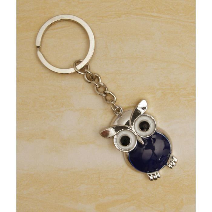 Porte clef hibou bleu bleu achat vente porte cl s for Meuble porte clef