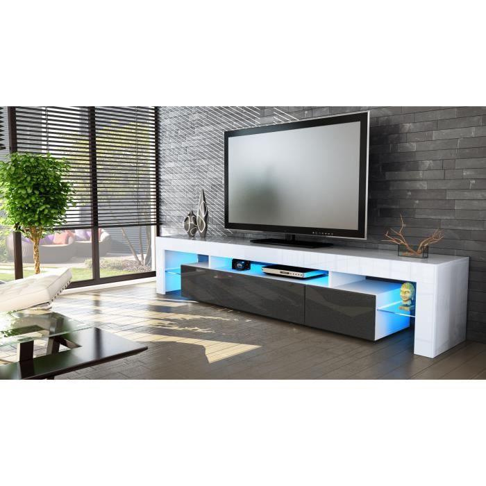 meuble tv blanc et noir m tallique 189cm achat vente. Black Bedroom Furniture Sets. Home Design Ideas