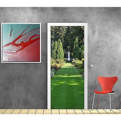 Stickers pour porte trompe l oeil d co jardin fontaine r f for Deco jardin soldes