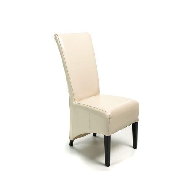 lot de 2 chaises ethnique cuir bycast beige lys achat vente chaise mati re du rev tement. Black Bedroom Furniture Sets. Home Design Ideas