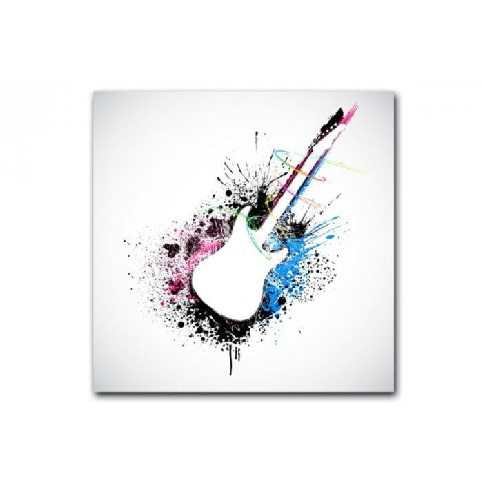 Tableau abstrait guitare electrique 50x50 cm un tableau rock r serv aux am - Vente tableau abstrait ...