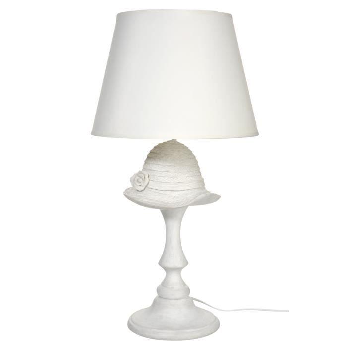 le 224 poser abat jour design chapeau coloris blanc
