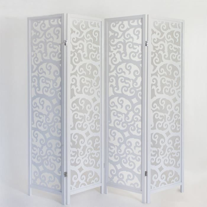 paravent en bois blanc arabesques 4 pans achat vente paravent cdiscount. Black Bedroom Furniture Sets. Home Design Ideas