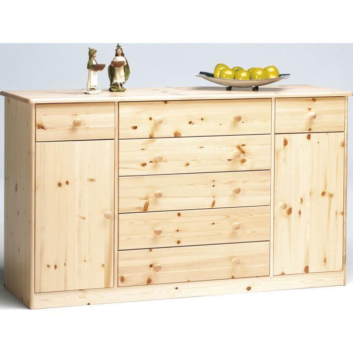 buffet en bois naturel verni dim 151 x 48 x 89 cm achat vente buffet bahut buffet en. Black Bedroom Furniture Sets. Home Design Ideas