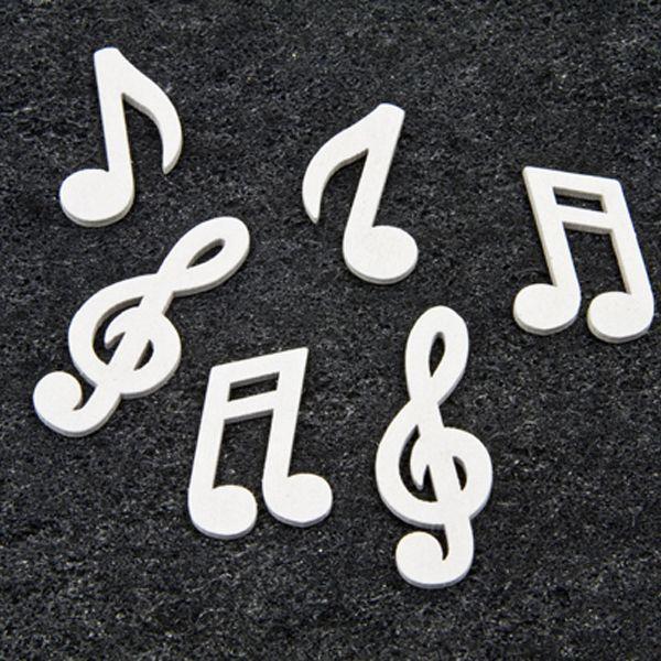 Décors de table notes de musique en bois couleur blanc