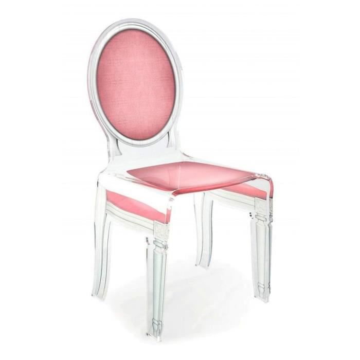 Chaise acrila sixteen design rose pale achat vente for Chaise design rose