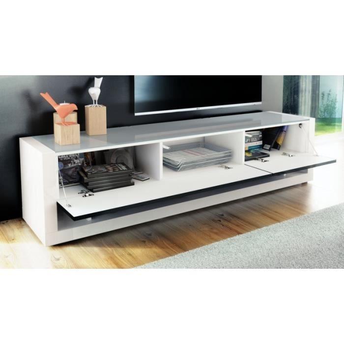 Meuble tv design blanc et bordeaux avec led 156 cm achat vente meuble tv - Meuble design bordeaux ...