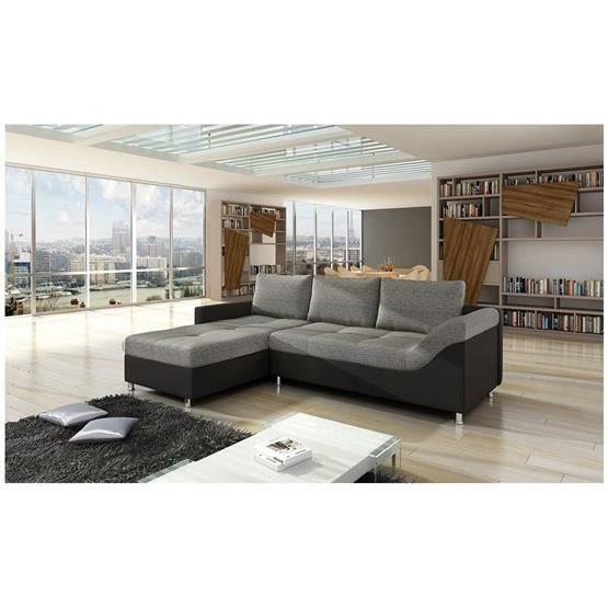 Canap d 39 angle design sali gris et noir angle gauche - Canape d angle gris et noir ...