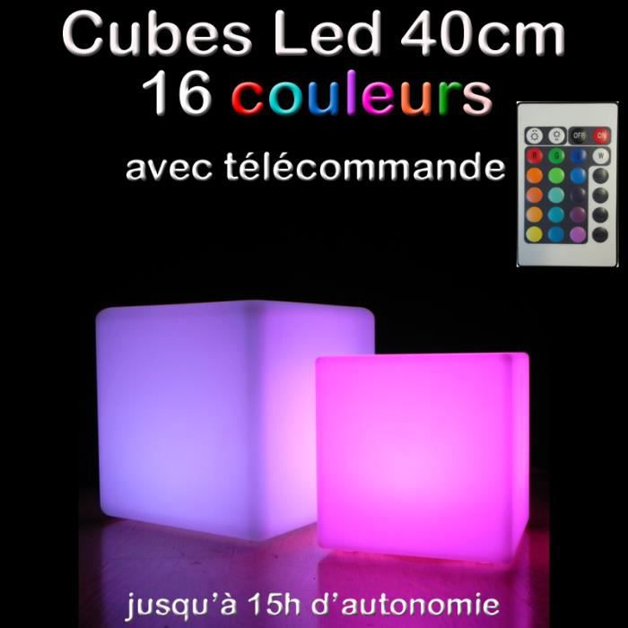 cube lumineux 40cm achat vente cube lumineux 40cm. Black Bedroom Furniture Sets. Home Design Ideas