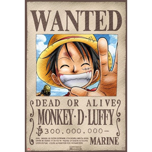 Poster one piece 39 wanted luffy 39 52x38cm achat vente - One piece wanted poster ...