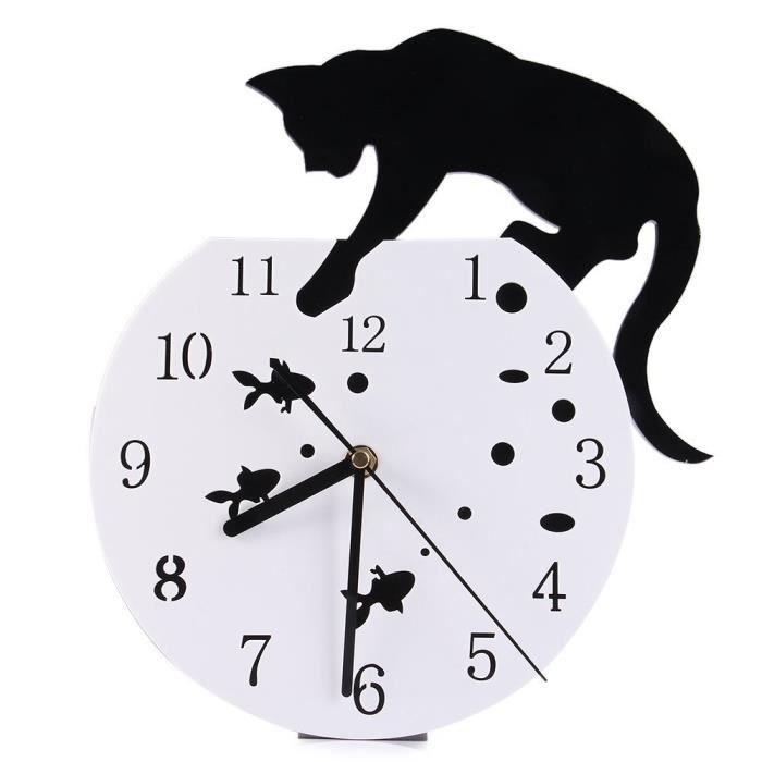 Tofern horloge murale pendule 3d chat silencieuse diy for Pendule de cuisine murale