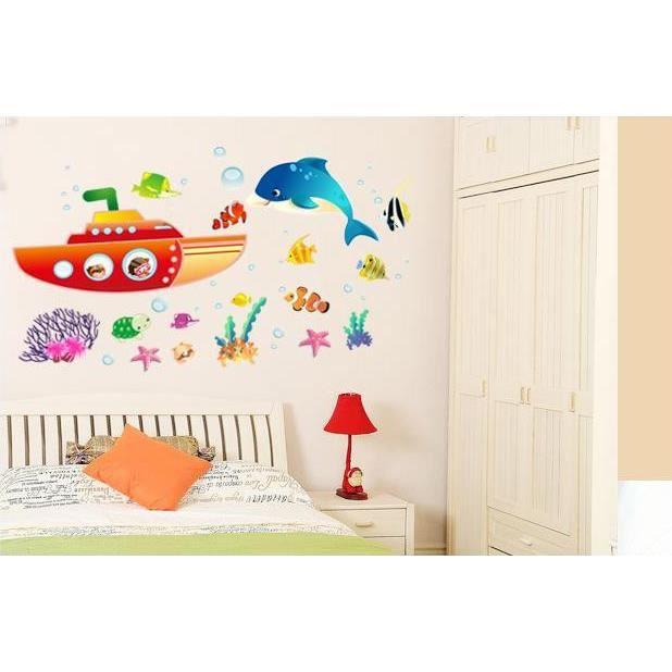 Monde sous marin baleines poissons tropicaux et - Decoration chambre d enfant ...