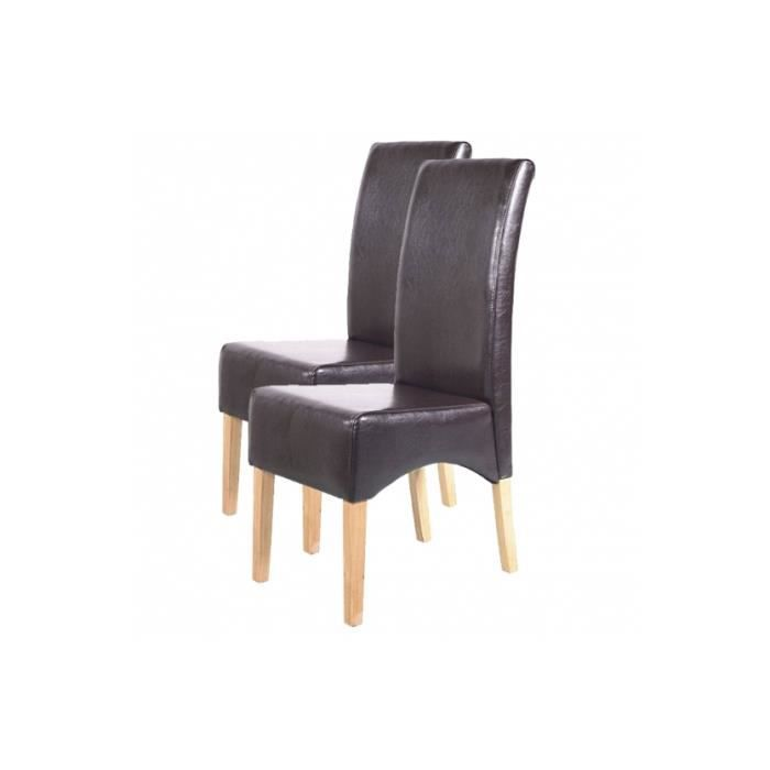 Chaise de salle manger lot de 2 dolus cuir pieds clairs for Chaise de salle a manger brun