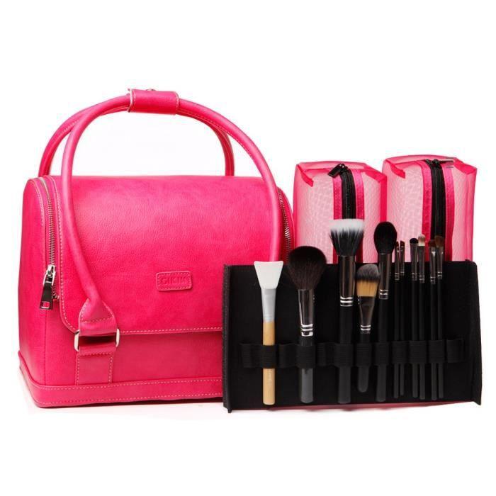 mallette de rangement maquillage et pinceaux rose achat vente trousse de maquillage. Black Bedroom Furniture Sets. Home Design Ideas
