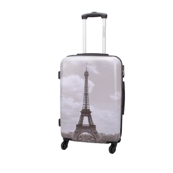 valise rigide tour eiffel 4 roues 60 cm gris achat vente valise bagage 3563772047224. Black Bedroom Furniture Sets. Home Design Ideas