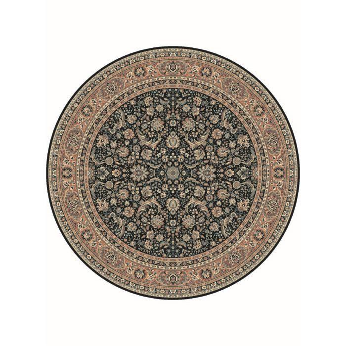 tapis de rond s kazbah rond 11 noir 200x200 en achat vente tapis cdiscount. Black Bedroom Furniture Sets. Home Design Ideas