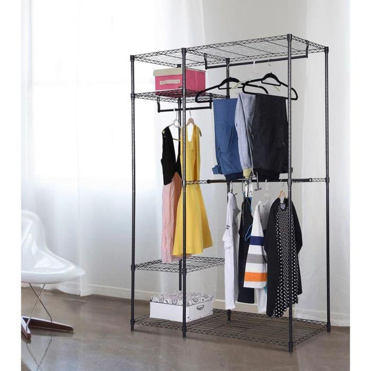 armoire avec structure en m tal robuste penderie locker pliant linge r glable achat vente. Black Bedroom Furniture Sets. Home Design Ideas