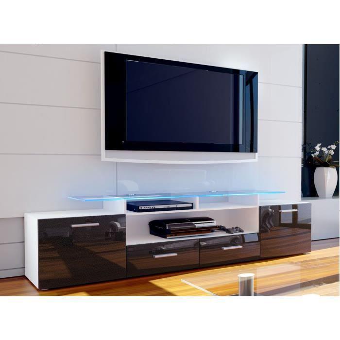 meuble tv blanc et noir m tallique 194 cm achat vente. Black Bedroom Furniture Sets. Home Design Ideas