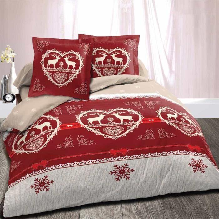 Parure chalet winter rouge largeur 160 4p achat for Linge de lit style chalet montagne