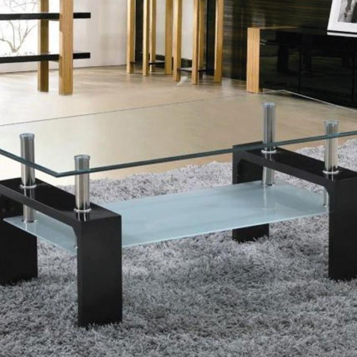 maison r table basse design noir verre