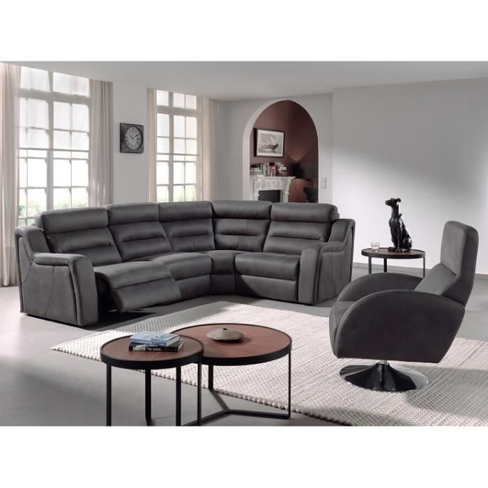 canap d 39 angle fixe en cuir kira l 290 x l 210 cm gris achat vente canap sofa divan. Black Bedroom Furniture Sets. Home Design Ideas