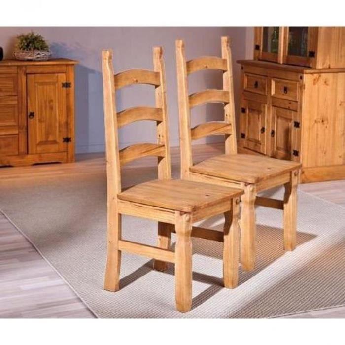 Lot de 2 chaises rustiques mex en bois massif achat for Chaise en bois massif