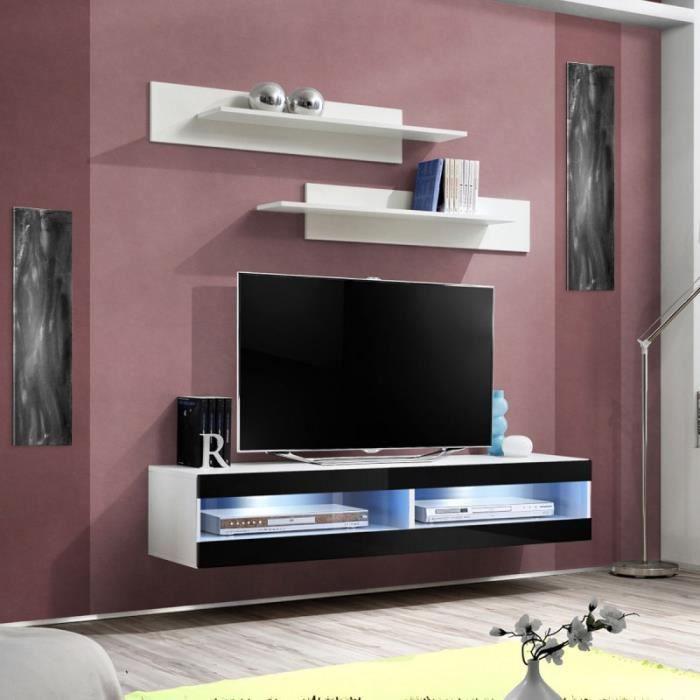 Paris prix meuble tv mural design fly ii 160cm noir for Meuble mural tv fly