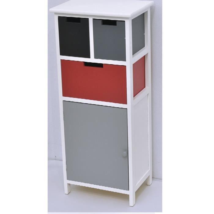 meuble bas bois noir gris rouge achat vente petit meuble rangement meuble bas bois noir gris. Black Bedroom Furniture Sets. Home Design Ideas