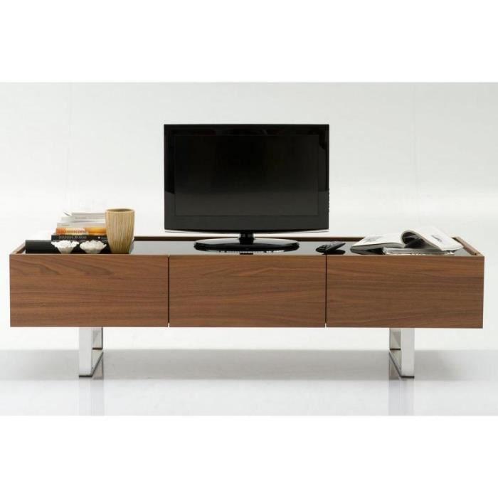 Meuble tv design horizon de calligaris noyer plateau verre for Meuble calligaris
