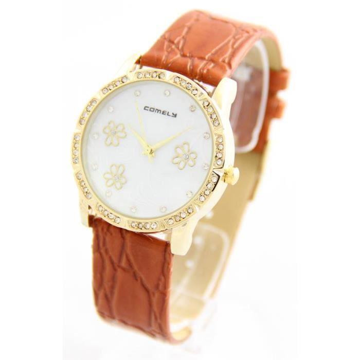 montre femme bracelet cuir marron 2502 marron achat vente montre cdiscount. Black Bedroom Furniture Sets. Home Design Ideas