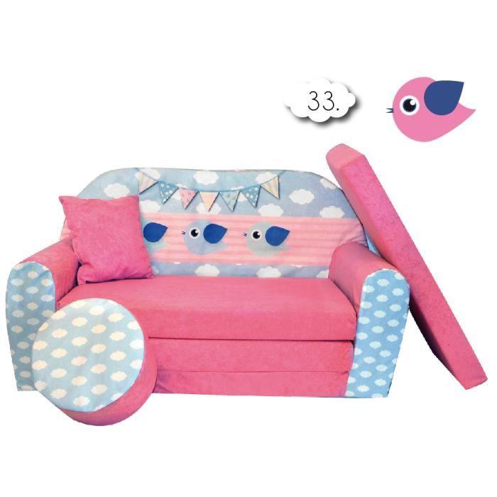 Sofa enfant 2 places convertibles petits oiseaux v achat for Canape enfant 2 places
