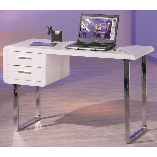 Bureau blanc de style 2 tiroirs claude achat vente for Meuble bureau profondeur 40 cm