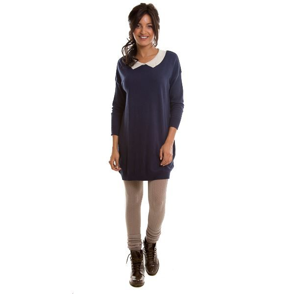 robe col en v col claudine bleu marine bleu marine achat vente robe robe col en v col. Black Bedroom Furniture Sets. Home Design Ideas