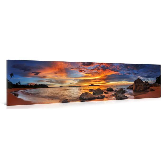 Tableau sur toile island sunset 120x30cm achat vente for Tableau impression sur toile